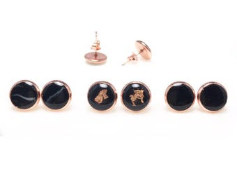 Black X Rose Gold Earring Studs