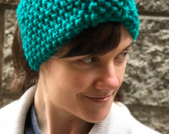 Hand knit chunky winter earwarmer headband with bow detail