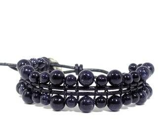 Blue goldstone beaded bracelet, Dark blue gemstone bracelet, Healing crystal bracelet, Beaded leather bracelet, Third eye chakra bracelet