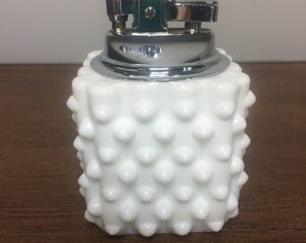 Vintage Fenton Hobnail Milk Glass Lighter