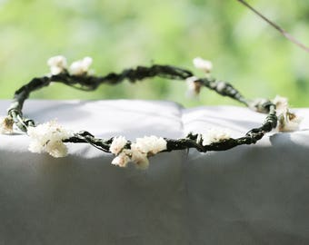 Boho Floral Crown | Dried Flowers | Wedding headband | Dry Floral Crown | Wedding Hair Wreath | Bohemian Wedding | Bark Twine Twig Crown