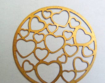 Print 22mm gold metal heart filigree connector