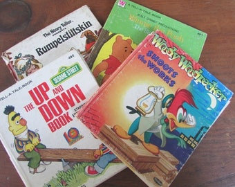 CHildren's Book Bundle Tell A Tale Book Set Winnie The Pooh Woody Woodpecker Sesame Street
