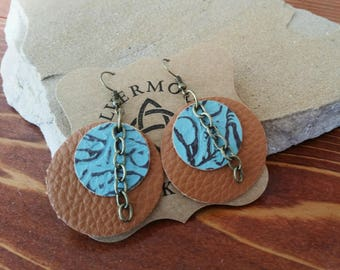 Round Turquoise Leather/Tan Faux Leather/Western/Boho Dangle Earrings