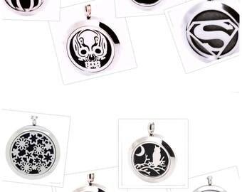 Girls & Boys Aromatherapy diffuser locket/Pendant (25mm - Fairy - Butterflies - flowers - Superman - Spiderman - Batman - Skull)