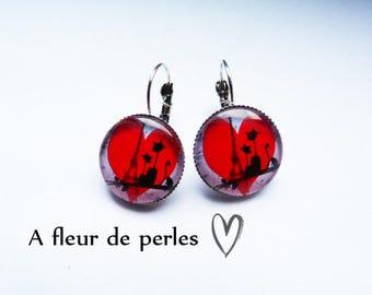 """Silver earrings """"Cat love in the capital"""""""