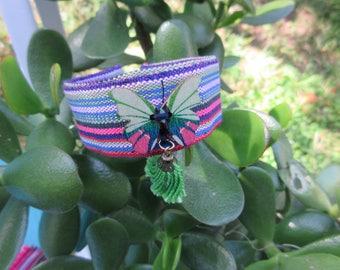 Multicolored striped fabric Cuff Bracelet