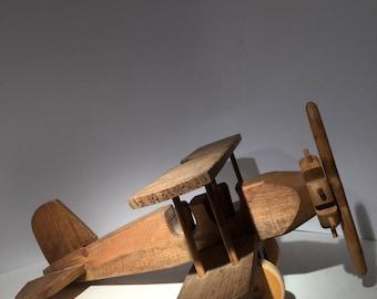 Vintage Handcrafted Wood Airplane