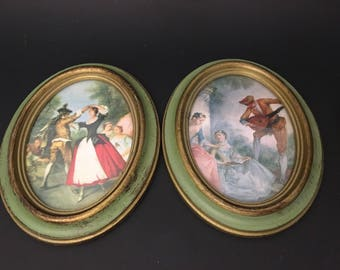 Victorian picture scenes in Oval Frames in Green And gold