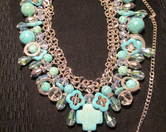 Designer and Vintage Inspired turquoise and shimmering crystal necklace with silver accents
