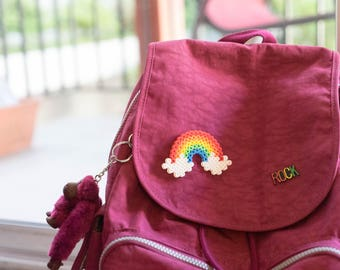 Rainbow Pin/ Hair Clip - Perler Bead