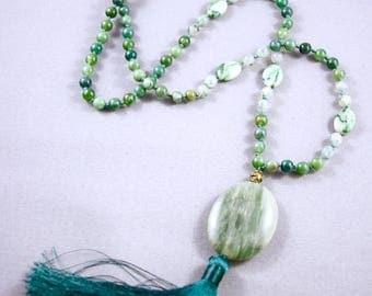 108 bead meditation mala, moss agate, green quartz, nylon string, silk tassel