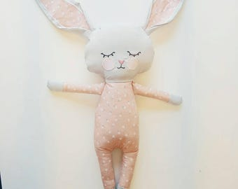 Bunny rabbit soft toy plushie pink