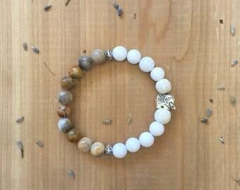 Essential Oil Diffuser Bracelet   Crazy Lace Agate Beads   White Agate Beads   White Lava Rock Beads   Elephant Charm   Yoga Bracelet