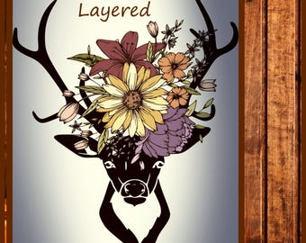 Deer with flowers SVG - Floral Antlers svg-  Fall Layered Deer Svg Png Dxf Eps Jpeg file made for the Cricut and other cutting machines