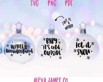 Winter Wonderland SVG, Baby it's cold outside svg, Let it snow svg, Christmas ornament svg, Christmas Decor, Cricut, Silhouette, svg png pdf