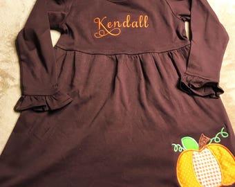 Brown Pumpkin Dress - Personalized Dress - Customized Fall Dress