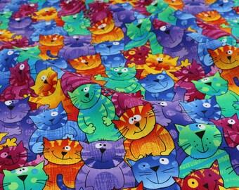 Colourful Cartoon Cats Digital Print Cotton Fabric