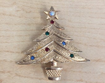 Emmons Signed Christmas Tree Brooch Pin with Rhinestones ; Price Drop