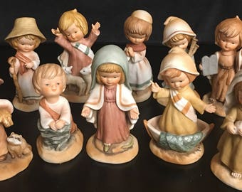 1980 Enesco Little Bible Friends Nativity Set - 10 piece