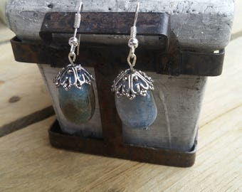dangle earrings, blue earrings, glass earrings
