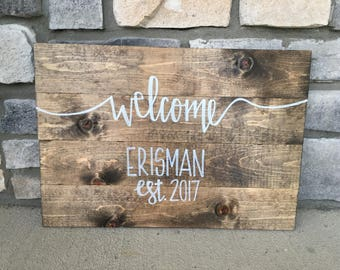 """Custom Welcome Sign - Solid Wood Sign, 16""""x20"""""""