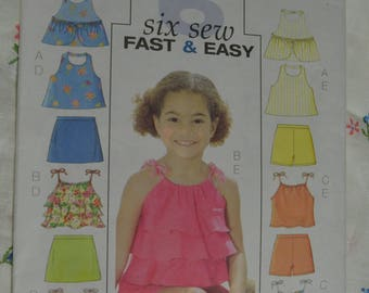 Butterick 4503  Childrens Girls Top Skort and Shorts Sewing Pattern - UNCUT  - Size 6 7 8