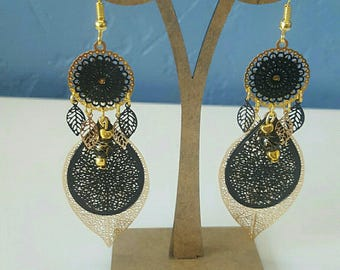 earrings, chic black and gold
