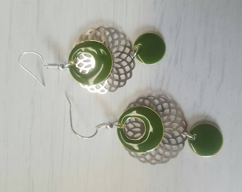 khaki and silver dangling earrings