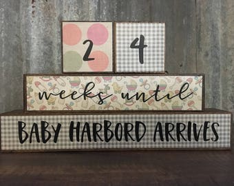Baby Countdown Blocks – Pregnancy Countdown Blocks – Customized Countdown Blocks – Countdown Blocks – Pregnancy Announcement