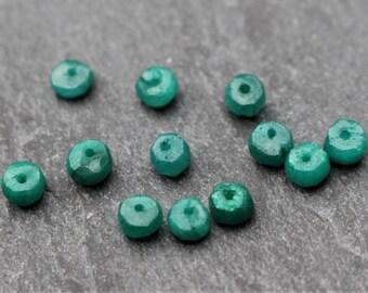 Genuine Emerald Bead, Natural Emerald, Rondelle, 4mm. Priced per Bead, May Birthstone, 4 mm, Green Beads, Precious Stone, Gemstone