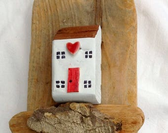 Love Lives Here key holder; dog lead holder; little wooden houses ; driftwood cottages; jewellery storage;