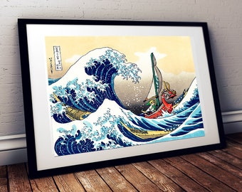 Estampe japonaise (Kanagawa Hokusai) avec Link de Zelda Wind Waker / Art geek et pop pour chambre d'enfant