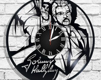 Johnny Hallyday singer design wall clock, Johnny Hallyday wall poster