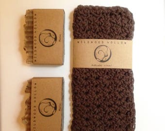 Coffee Lover's Gift Set Mocha soap and brown cotton washcloth spa set for him for her gift set coffee husband wife boyfriend girlfriend