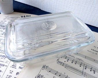 Antique french butter dish DURALEX glass vintage country decor Shabby chic rustic French kitchen