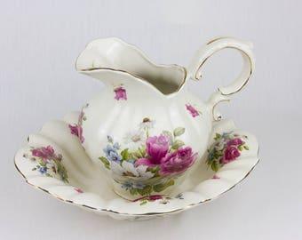 Vintage Jug / DNW Staffordshire England / Vintage ironstone floral patterned  jug