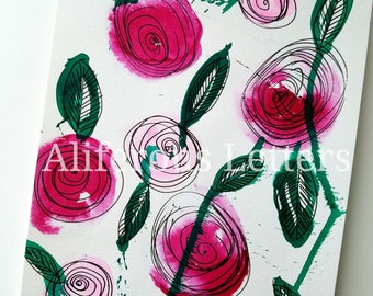 Original Abstract Flower Watercolor Illustration