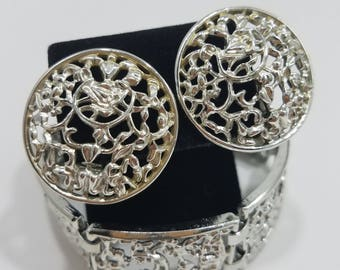 Beautiful & Classic Sarah Coventry Silver Filigree Bracelet and Matching Clip Earrings