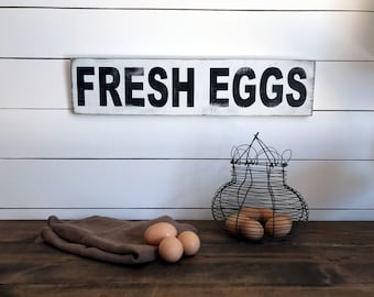 Farmhouse Fresh Eggs Sign  | Farmhouse Decor | Wood Signs | Fresh Eggs Sign | Fixer Upper | Primitive Sign | Rustic Sign
