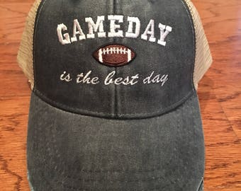 Game Day is the best day, football, game day, sports, trucker hat, distressed hat, women hat, cap