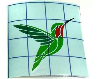 Hummingbird Decal - Vinyl Hummingbird - Green and Red Hummingbird - Car Decal - Customizable - Bird Sticker - Bird Decal