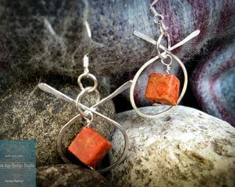 Criss cross silver and orange cube earrings