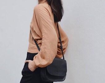 Vegan Leather Sling Bag, Vegan Leather, Crossbody Bag, Sling Bag, Womens Handbag, Shoulder Bag, Purse, Black Bag, Tan Bag
