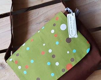 Kids Messenger Bag, green spotty design, handmade, retro, funky carry-all