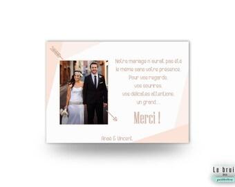 Carte de remerciement mariage graphique et moderne