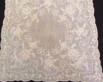 Vintage Handkerchief / Madeira Embroidery