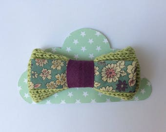 young girl knitting and fabric flower Barrette