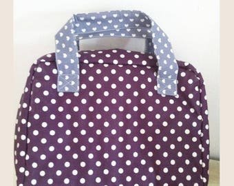 suitcase purple polka dot oilcloth