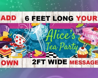 Alice in wonderland banner, alice in wonderland decorations, tea party decorations, tea party birthday, tea party baby shower, mad hatter